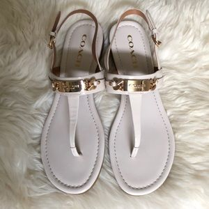 Coach patent leather Cream&Gold Sandals